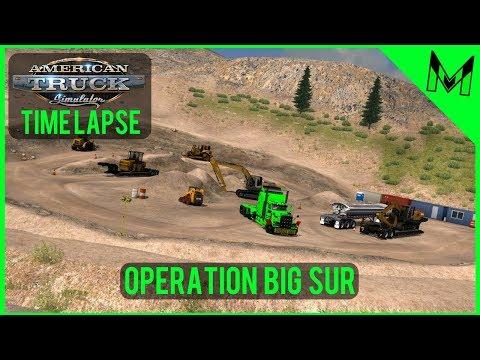 American Truck Simulator Timelapse #28 Big Sur Landslide Jobs (ATS Time lapse)