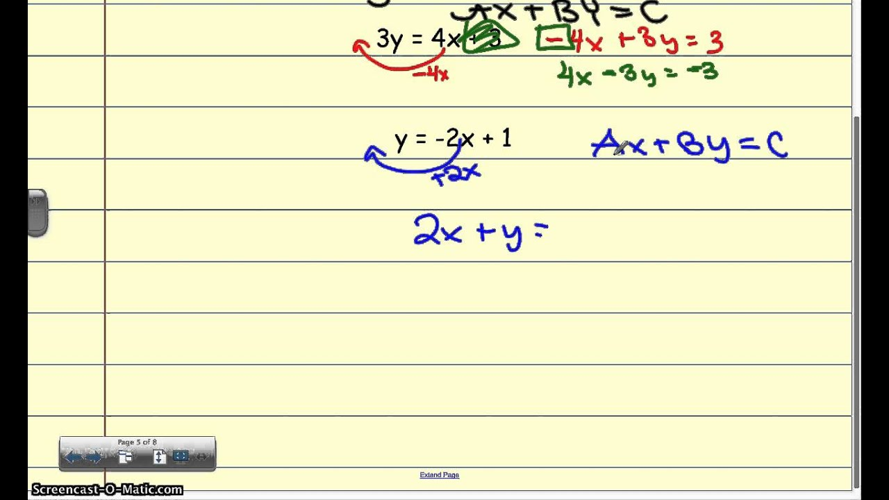 5 5b standard form and integer coefficients and quick graph youtube 5 5b standard form and integer coefficients and quick graph falaconquin