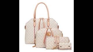 Women 4Pcs Handbags Set Elegant Zipper PU Business Shoulder Handbags Beige