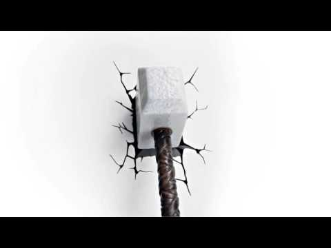 Luminária Martelo Thor 3d Wall Art Thor Hammer Nightlight