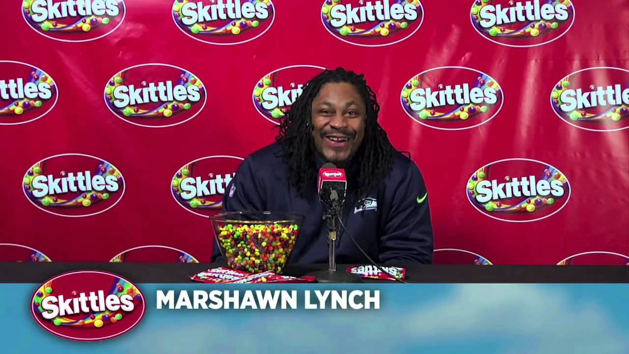 5038d2f30 Marshawn Lynch Skittles Interview Media Day Super Bowl XLIX Awesomer ...