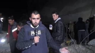 شاهد المذبحة التي ارتكبها التحالف بحق المصلين في بلدة الجينة بريف حلب