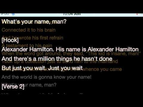 Alexander Hamilton Rap Lyrics By Lin Manuel Mirand
