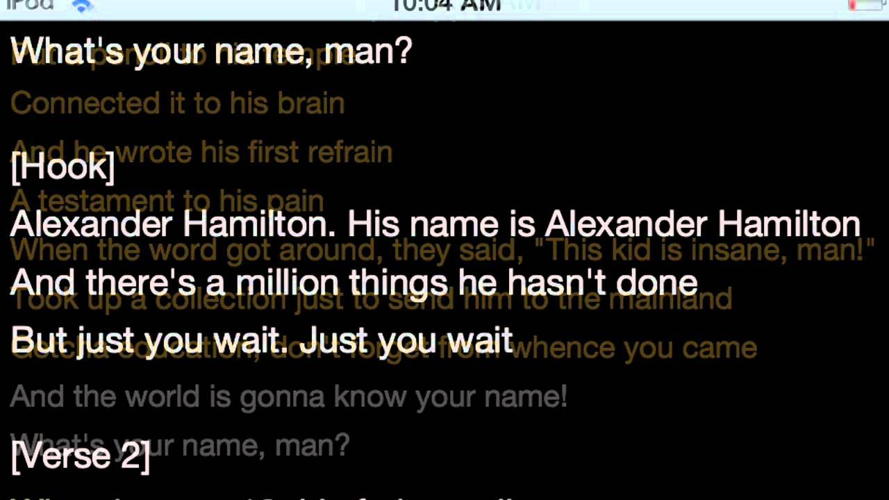 Alexander Hamilton Rap Lyrics By Lin Manuel Mirand - YouTube