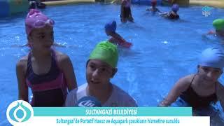 Sultangazi Belediyesi, portatif havuz ve aquapark'ı çocukların hizmetine sundu.