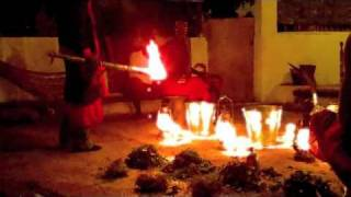 Gabon People Ngombi music with percussion and singing