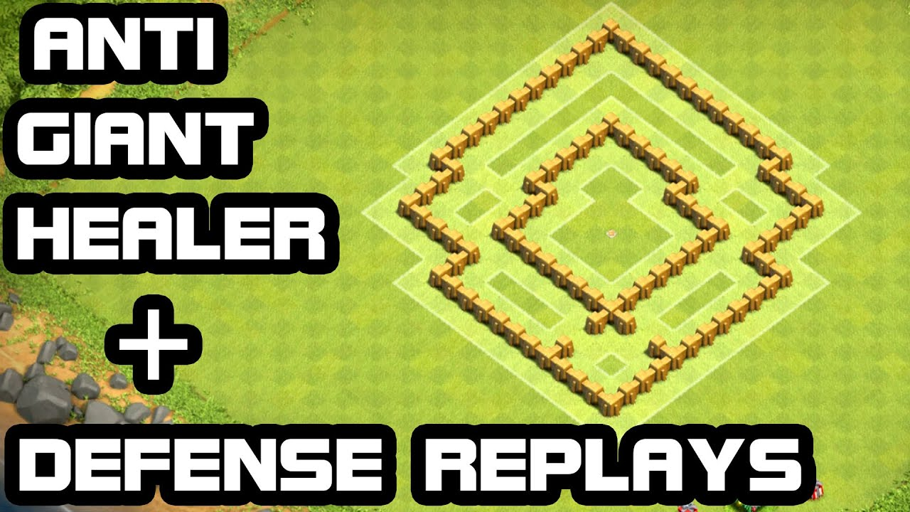 Giant healer defense replay th5 trophy base amp hybrid base youtube