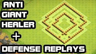 Clash of Clans Townhall 5 ANTI Giant Healer DEFENSE  + REPLAY TH5 Trophy Base & Hybrid Base