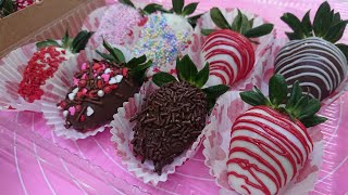 Como decorar Fresas con chocolate para 14 de febrero / san valentin / dia del amor y la amistad