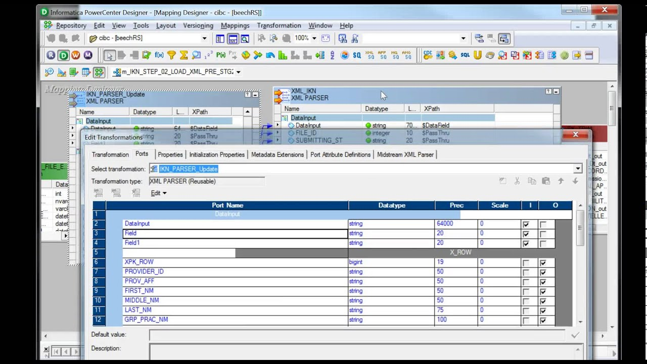 Midstream XML Parser add reference port