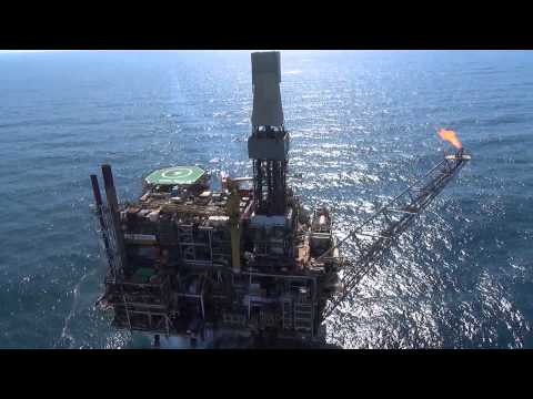 Offshore oil platform Drone video