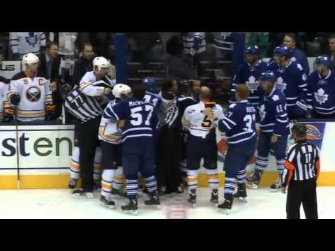 Sabres Leafs line brawl with a goalie fight 9-22-13