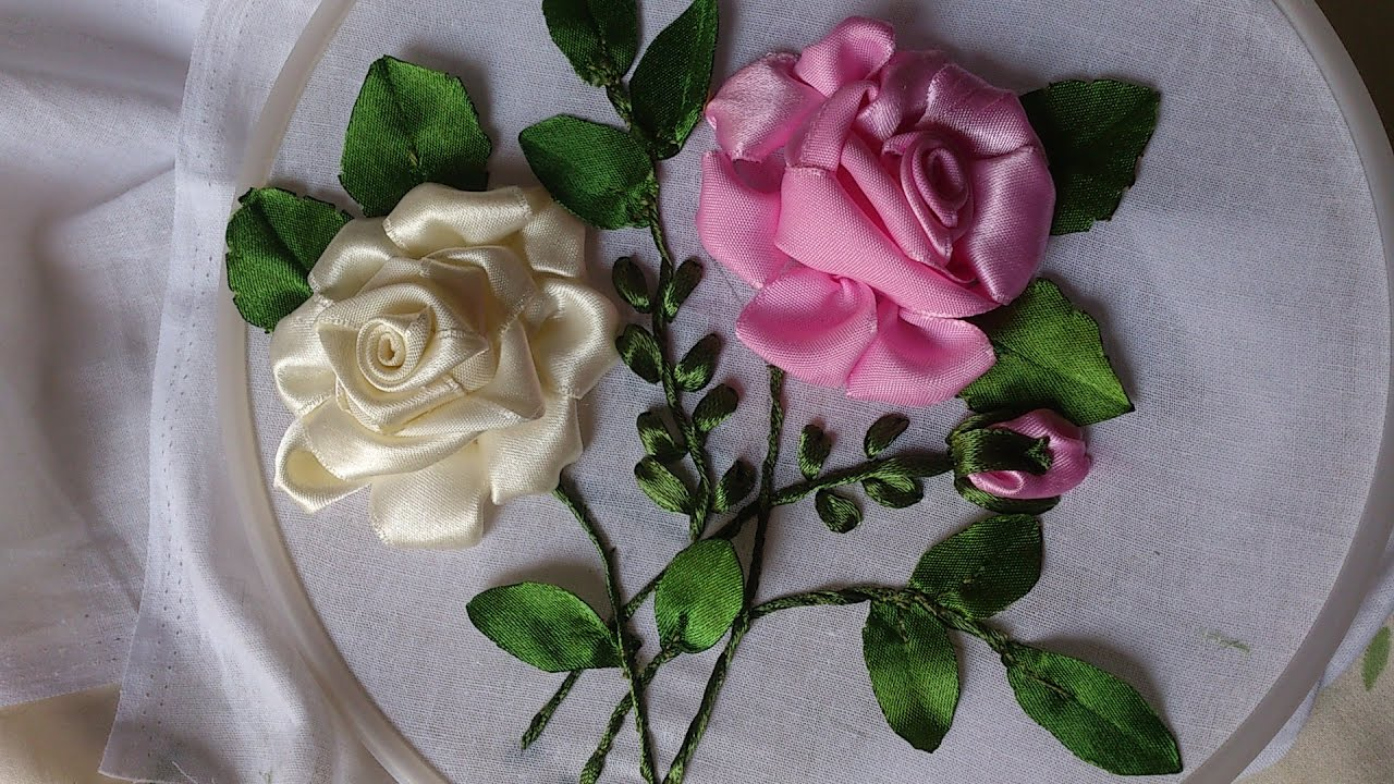 Ribbon work bed sheets designs - Hand Embroidery Designs Ribbon Embroidery By Hand Tutorial Ribbon Roses