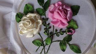 Hand embroidery designs. Ribbon embroidery by hand tutorial. Ribbon roses.
