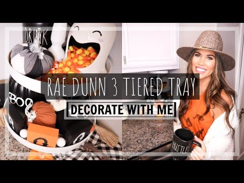 HALLOWEEN DECORATE WITH ME 2019! | FARMHOUSE 3 TIERED TRAY | FALL DECORATE WITH ME
