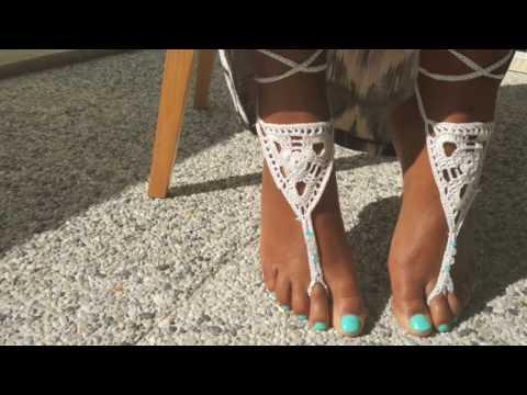 diy cha ne de pied avec perles en crochet barefoot sandals youtube. Black Bedroom Furniture Sets. Home Design Ideas