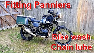 Bike Cleaning chain maintenance and fitting panniers to the Royal Enfield Himalayan