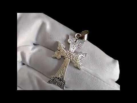 Армянский золотой крест с личной гравировкой на обороте