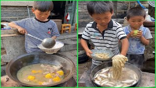 Lovely ! Little boy cooking food like a professional chef 조리 クック Rural life