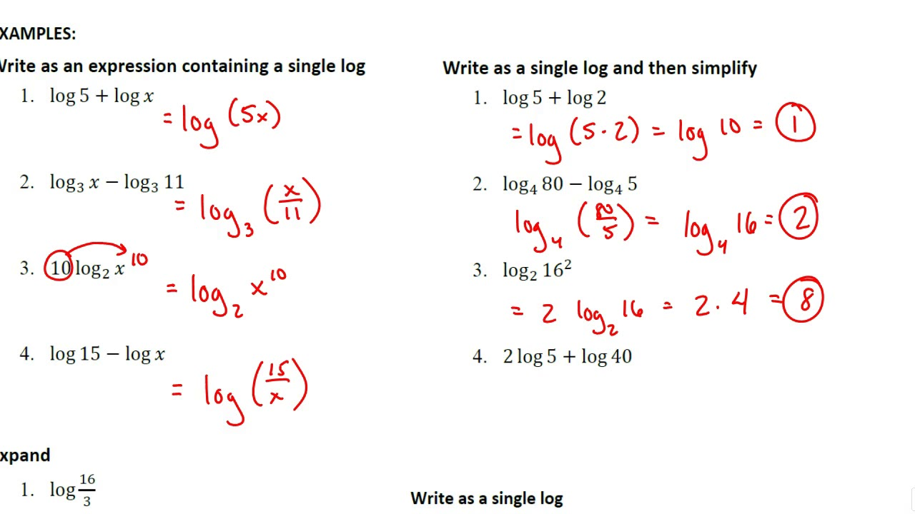 Lesson 6.2 Properties of Logarithms   YouTube