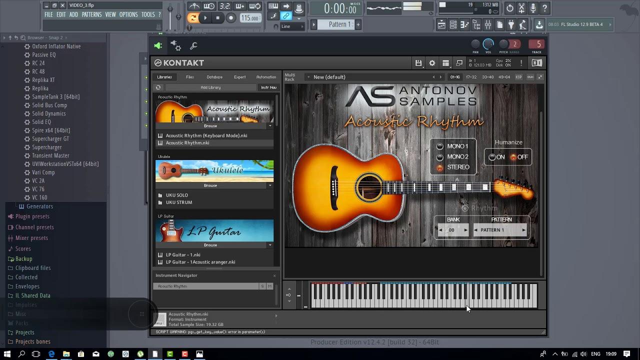 Acoustic Guitar Library For Kontakt 5 Antonov Samples Acoustic Rhythm Youtube