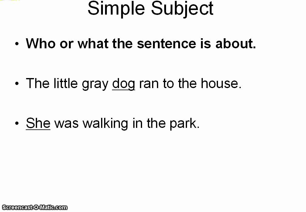 Simple Subjects and Predicates YouTube – Simple Predicate Worksheets