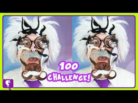 100 Googly Eye N' Mustache Challenge+Floor is Lava Challenge w.HobbyHarry