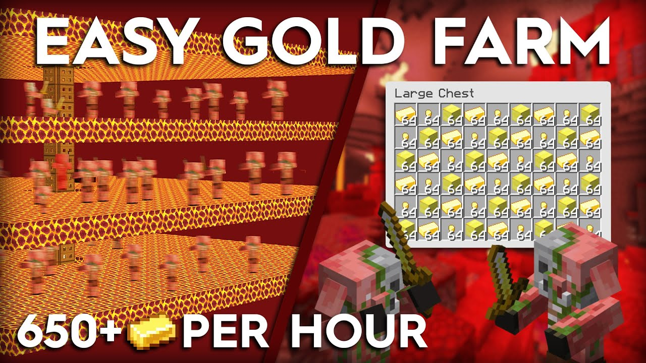 Minecraft Gold Farm For 1 16 Easy And Efficient Build Design Youtube