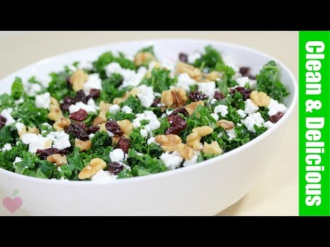 EASY KALE SALAD | with cranberries + walnuts