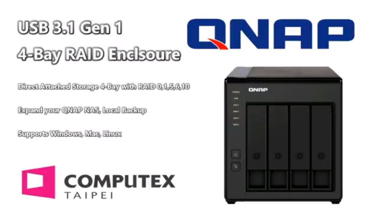 QNAP TR-004 USB RAID DAS 4-Bay with USB-C and NAS expansion
