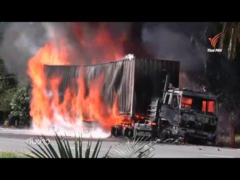 เกิดเหตุไฟไหม้รถบรรทุกตู้คอนเทนเนอร์ จ.สุราษฎร์ธานี-คนขับเจ็บสาหัส