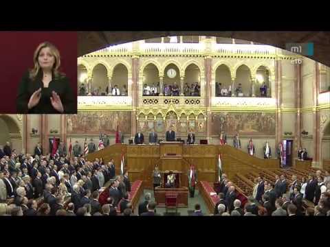 Szózat és a Székely himnusz az Országházban, Áder János beiktatása
