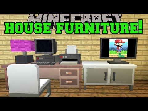 Minecraft: HOUSE FURNITURE!!! (WORKING TELEVISION, PC, CHAIRS, PRINTER, LAMPS, & MORE!) Mod Showcase