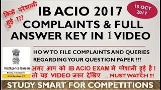 MHA IB ACIO 2017 RE EXAM & ANSWER KEY (wrong ones also)   BIG FAILURE in CONDUCTING EXAM  