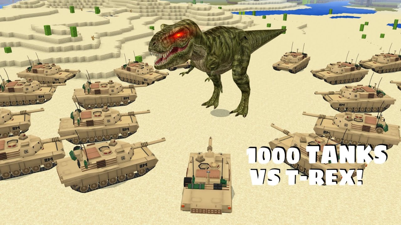 What if 1000 TANKS FIGHT A GIANT T-REX DINOSAUR  in Minecraft - Coffin Meme