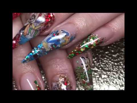 disney nails christmas nails acrylic nails - Disney Christmas Nails