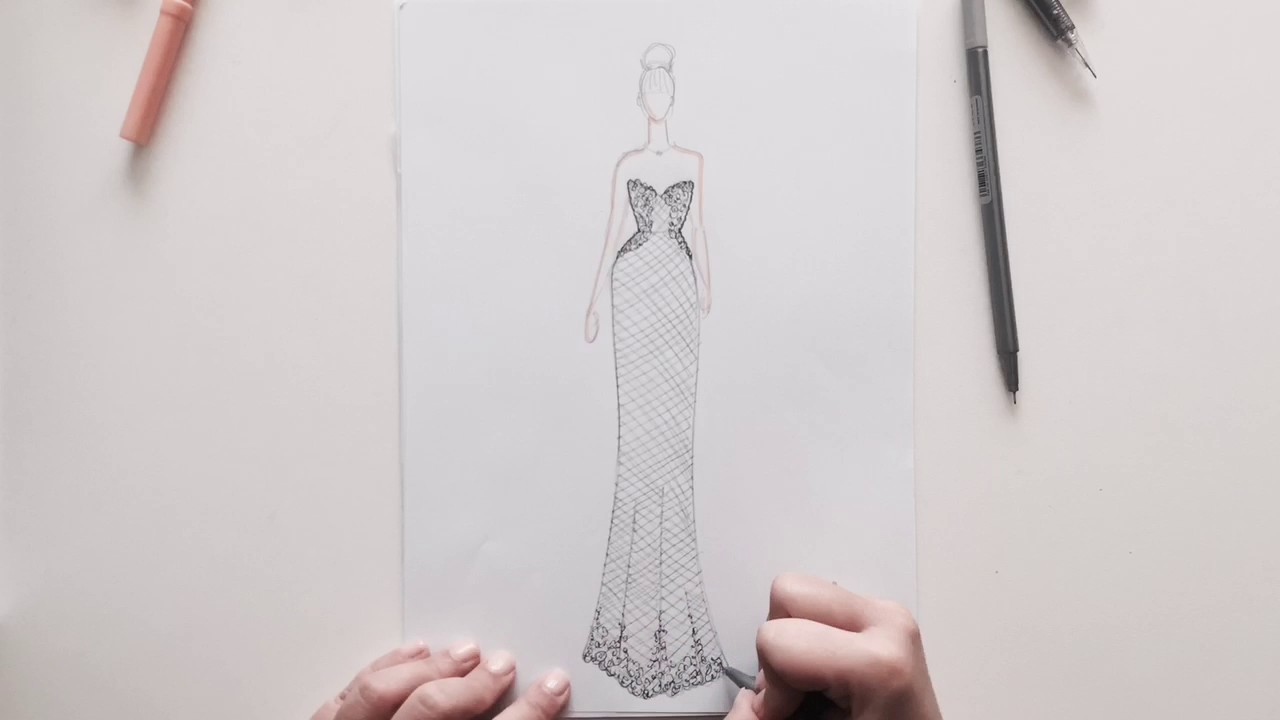 Lace Wedding Dress Sketch With Beading Youtube