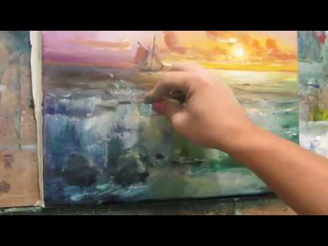 Marine oil painting. The surf in warm tones. Part 2.  Add the details of the dry paint.