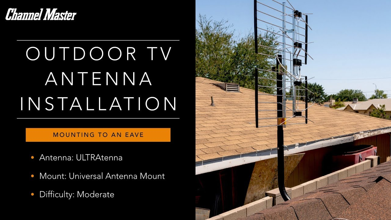 Outdoor Antenna Installation on the Eave of a Roof