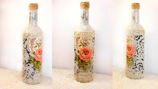 #31 decoupage lesson DIY decoupage bottles shabby chic decoupage on glass tutorial for beginners