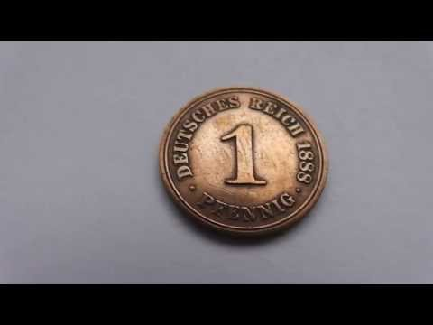Old german money coin at the year 1888 - 1 Pfennig - 1 Penny