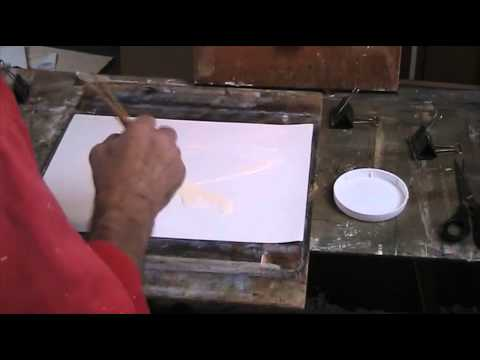 Preparing watercolour paper for painting in oil or acrylic