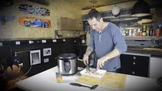 Man Cave Cooking Shredded Chicken Stew / Casserole / Soup With Pressure Cooker In The Man Cave