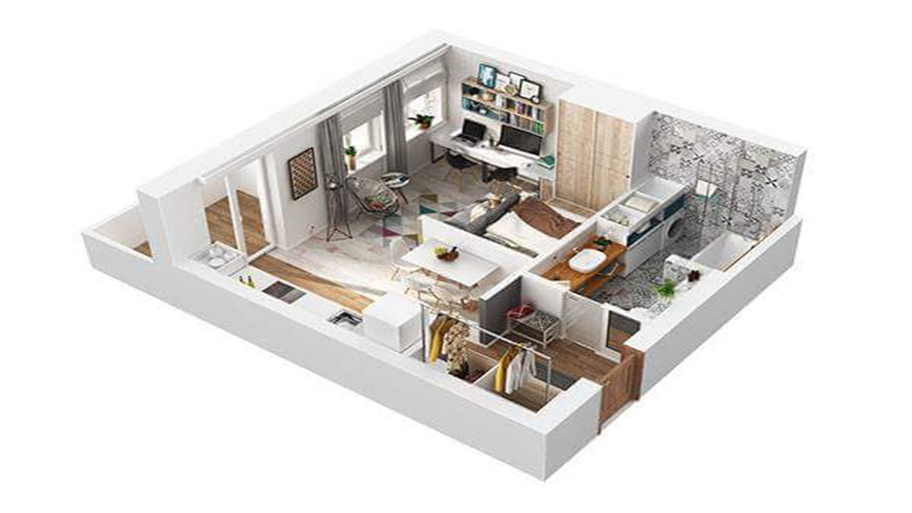 40 Square Meter Apartment ·▭· · ··· Design In Rome, 3D   YouTube