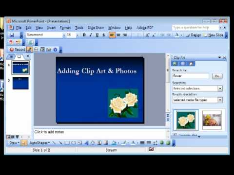 PowerPoint 2003 tutorial-Adding Clip Art & Photos - YouTube