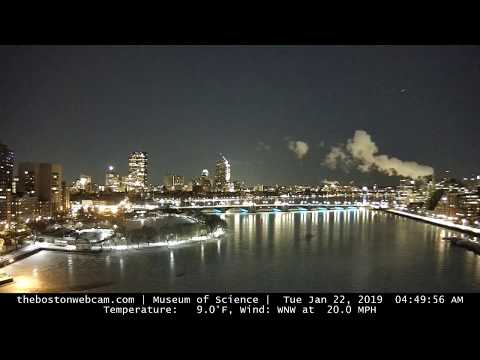RECENT SNOW - Boston Timelapse from the Museum of Science West Webcam (RELAXING)