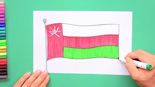 How to draw and color National Flag of Sultanate of Oman