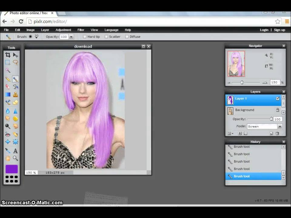 How To Change Hair Color Easily On Pixlr Youtube