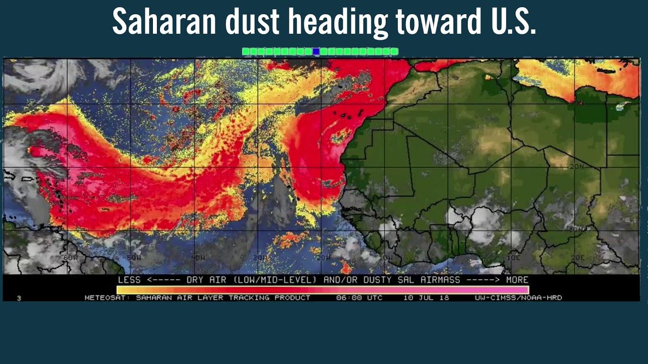 Saharan dust heading toward U S