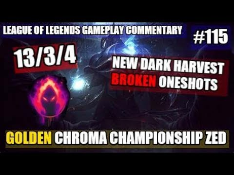 Golden Chroma Zed ~ 13/3/4 ~ (League of Legends Gameplay Commentary 115)